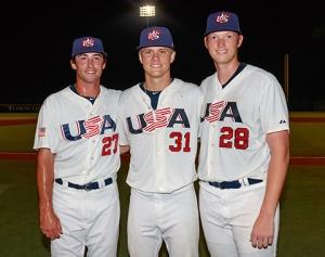 Tanner Houck (Missouri), A.J. Puk (Florida) y Ryan Hendrix (Texas A&M) se combinaron para dejar sin hits ni carreras a los cubanos. (Foto: USABaseball)